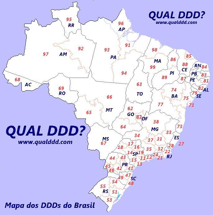 Mapa de DDD do Brasil
